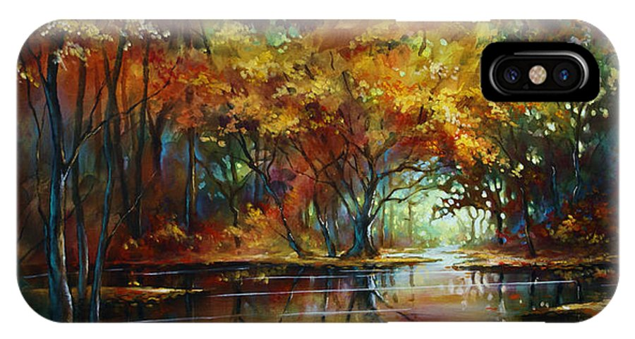 Landscape IPhone X Case featuring the painting Summers End by Michael Lang