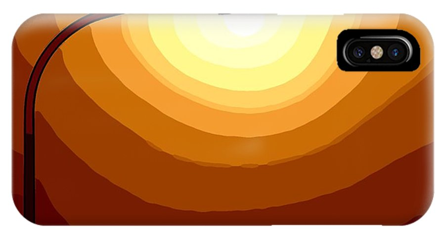 Laterne Lamp Lantern Lamp-post Light Shine Modern Oil Painting Darkness Shadow Energy Abstract Beam Ray Halo Flash Reflactor Simply Simplicity Red Orange Yellow White Plain  Field Color Colorful  IPhone X / XS Case featuring the painting Sun-light by Steve K