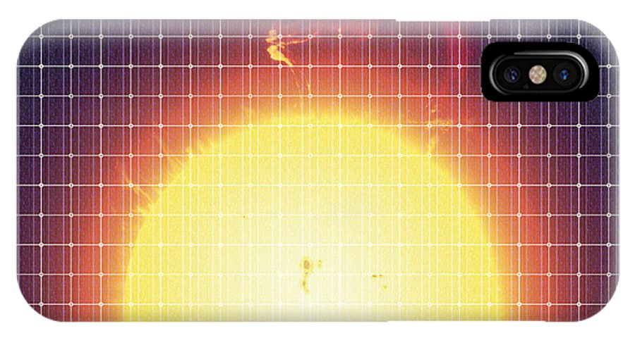 Loop Prominence IPhone X Case featuring the photograph Sun Reflected In A Solar Panel by Detlev Van Ravenswaay
