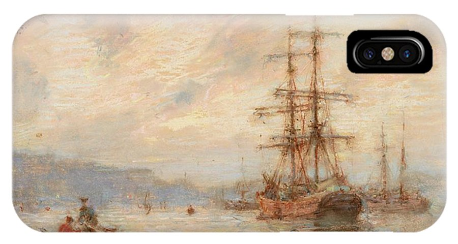 Sea; C19th; C20th; Sailing Ship; Rowing Boat; Boats; Seascape; Shipping; Ships; Masts; Mast; Silhouette; Henry Scott Tuke IPhone X / XS Case featuring the painting Sundown by Henry Scott Tuke