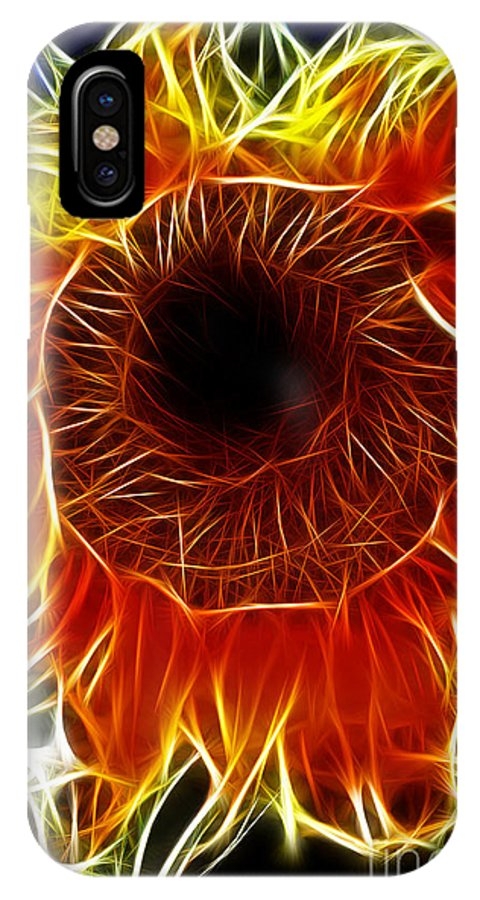 Fine Art Photography IPhone X Case featuring the photograph Sunflower Fractal by Donna Greene