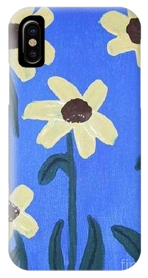 Blue IPhone X Case featuring the painting Sunflowers On Blue by Jeannie Atwater Jordan Allen