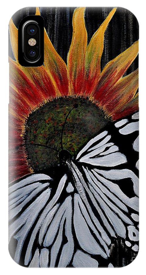 Butterfly IPhone X Case featuring the painting Sunfly by Preethi Mathi