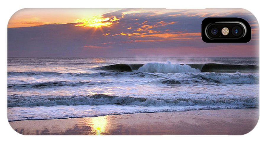 Sunrise IPhone X Case featuring the photograph Sunrise On The Waves by Mary Almond