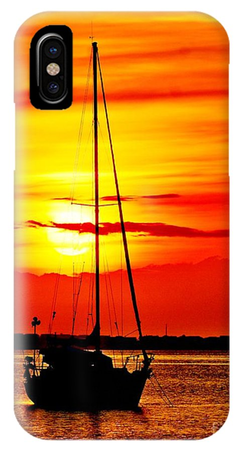 Dawn IPhone X Case featuring the photograph Sunrise Sailing by Nick Zelinsky
