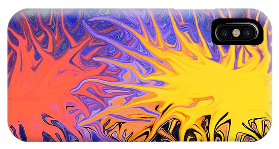 Abstract IPhone X Case featuring the mixed media Sunrise Sunset by Chris Butler