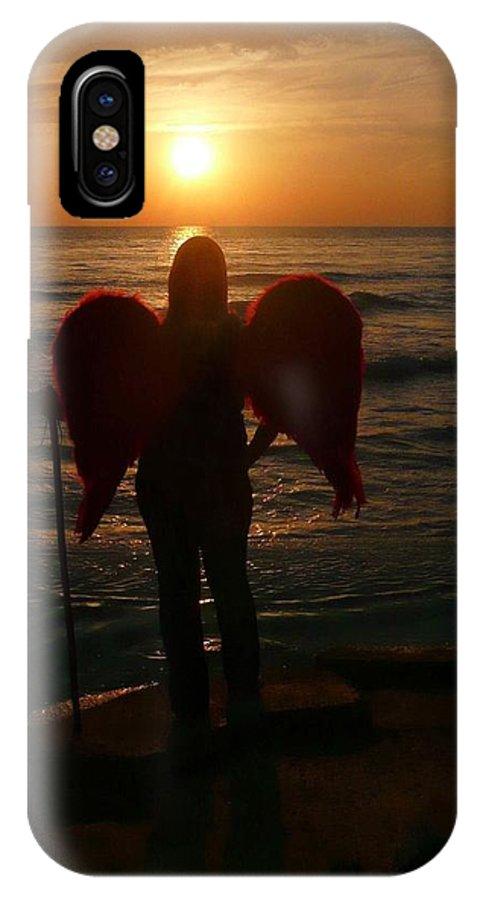 Sunset IPhone X Case featuring the photograph Sunset Angel by H and L Nieborg
