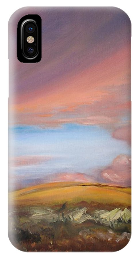 Hawaii IPhone X Case featuring the painting Sunset In Hawaii by Donna Tuten