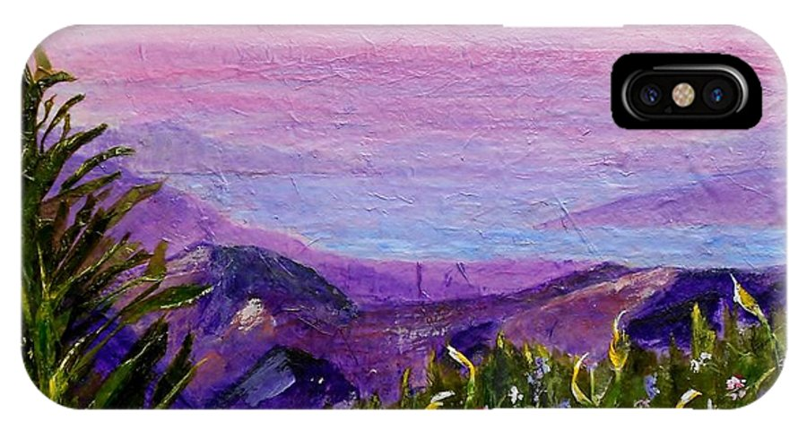 Collage IPhone X Case featuring the painting Sunset Lake by Jamie Frier