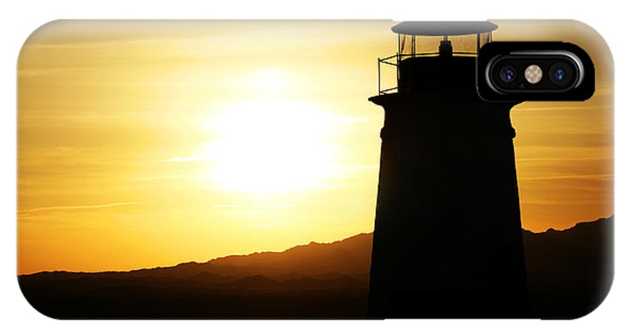 Sunset IPhone X Case featuring the photograph Lake Havasu Sunset Lighthouse by Charles Benavidez