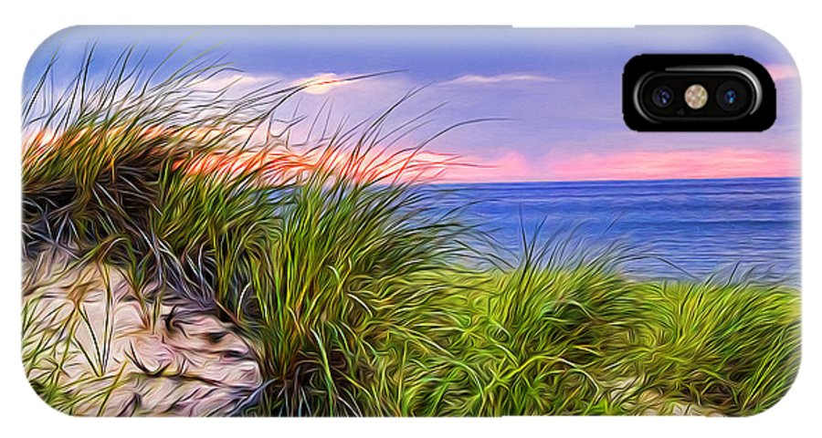 Sand IPhone X / XS Case featuring the painting Sunset On Wellfleet Dunes by Tammy Wetzel