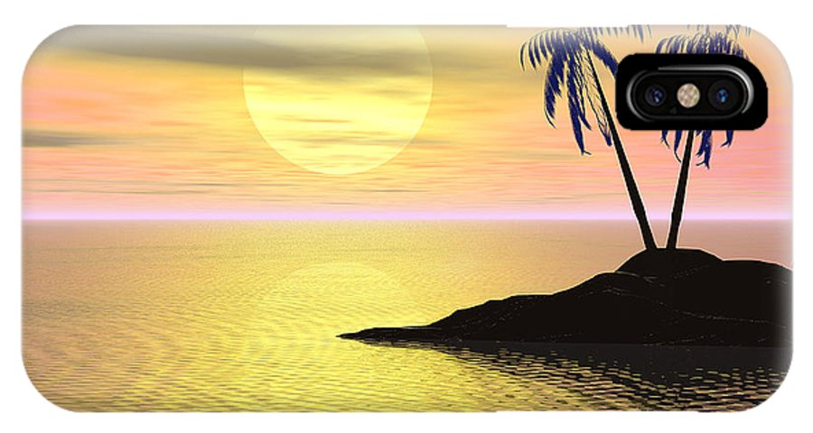 Digital Art IPhone X Case featuring the digital art Sunset Palm Trees by Phil Perkins