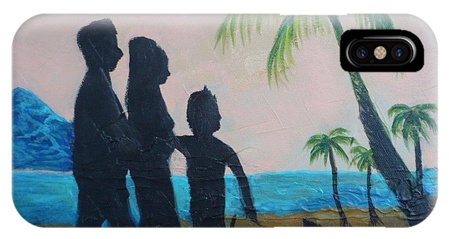 Sunset IPhone X Case featuring the painting Sunset Palms by Monika Shepherdson