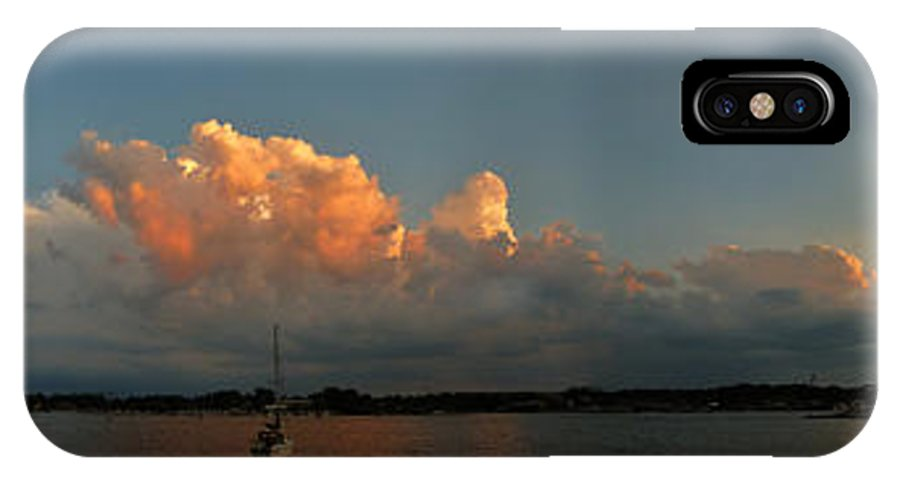 Clouds IPhone X Case featuring the photograph Sunset Storm Clouds Panorama by Tim Nyberg