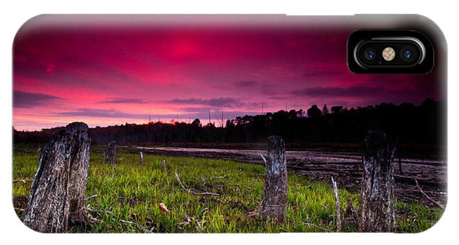 Sunset IPhone X Case featuring the photograph Sunset Stumps by Cale Best