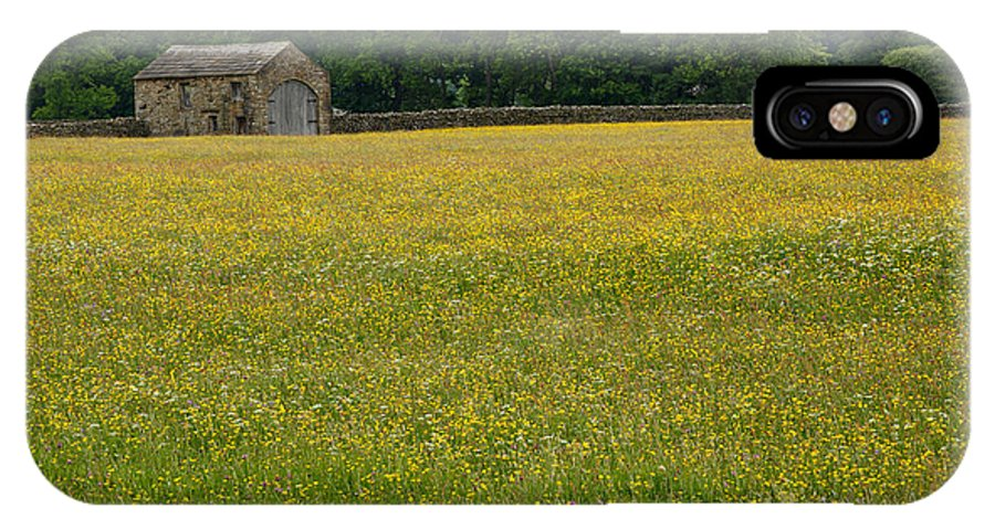 Field IPhone X / XS Case featuring the photograph Swaledale Buttercup Meadow by Louise Heusinkveld
