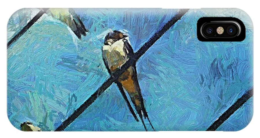 Swallows IPhone X Case featuring the painting Swallows Goes To South by Dragica Micki Fortuna