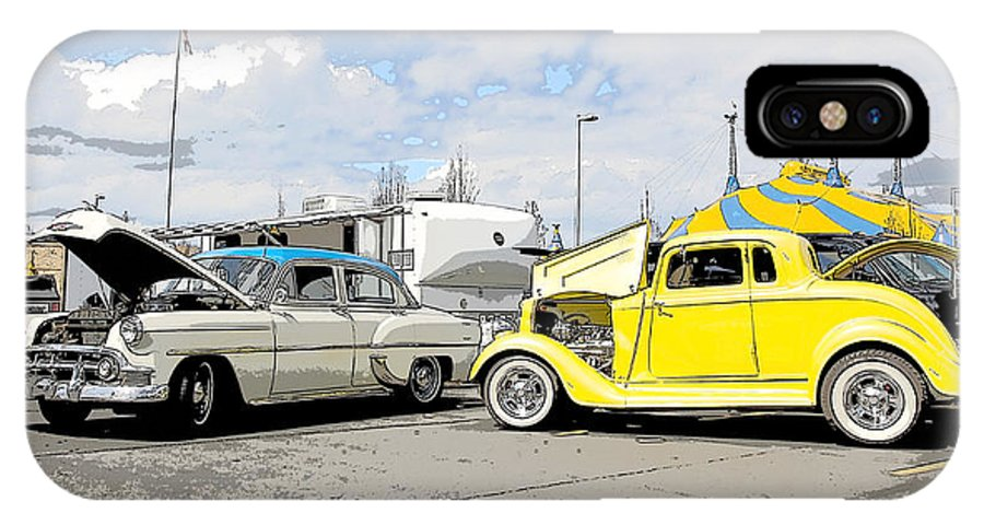 Car IPhone X Case featuring the photograph Swap Meet Plymouth And Chevy by Steve McKinzie
