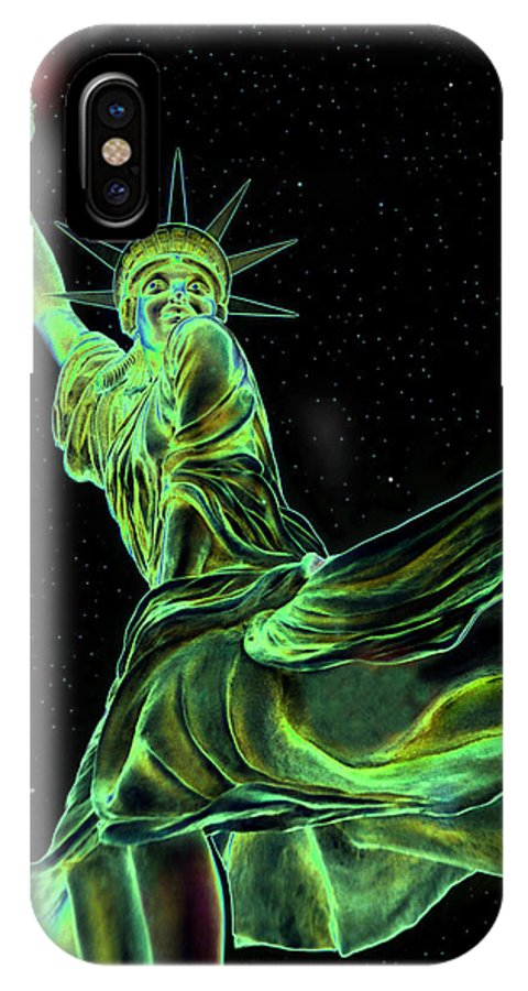 Statue Of Liberty IPhone X Case featuring the painting Sweat Liberty by David Lee Thompson