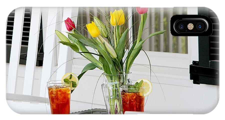 Summertime IPhone X Case featuring the photograph Sweet Tea And Tulips by Toni Hopper