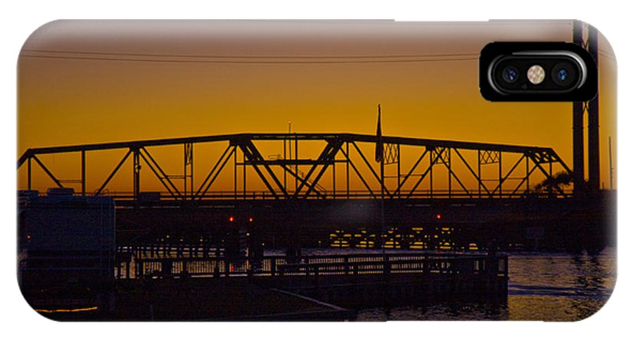 Topsail IPhone X Case featuring the photograph Swing Bridge Sunset by Betsy Knapp