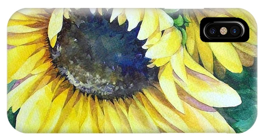 Flowers IPhone X Case featuring the painting Swingin' Sunflowers by Judith A Smothers