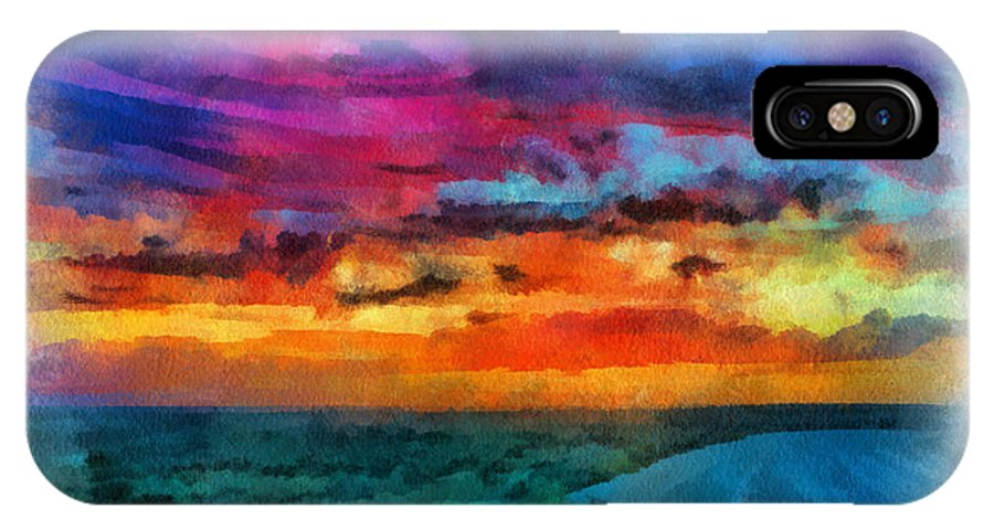 Santa IPhone X / XS Case featuring the digital art Taos Sunset Iv Watercolor by Charles Muhle