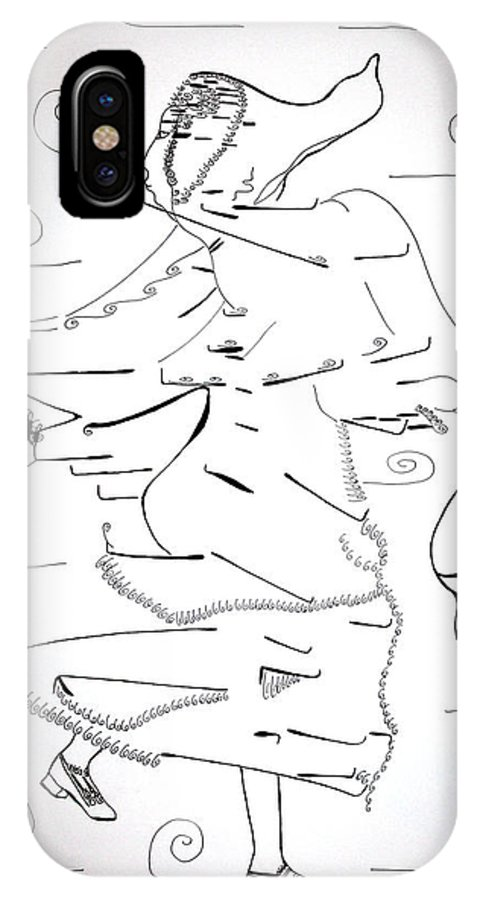 Jesus IPhone X Case featuring the drawing Tarantella Dance - Italy by Gloria Ssali