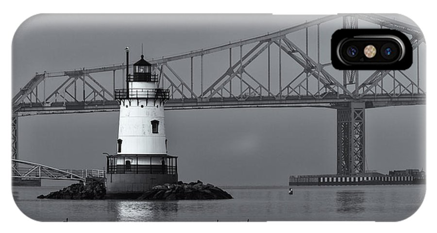 Clarence Holmes IPhone X Case featuring the photograph Tarrytown Lighthouse And Tappan Zee Bridge Viii by Clarence Holmes