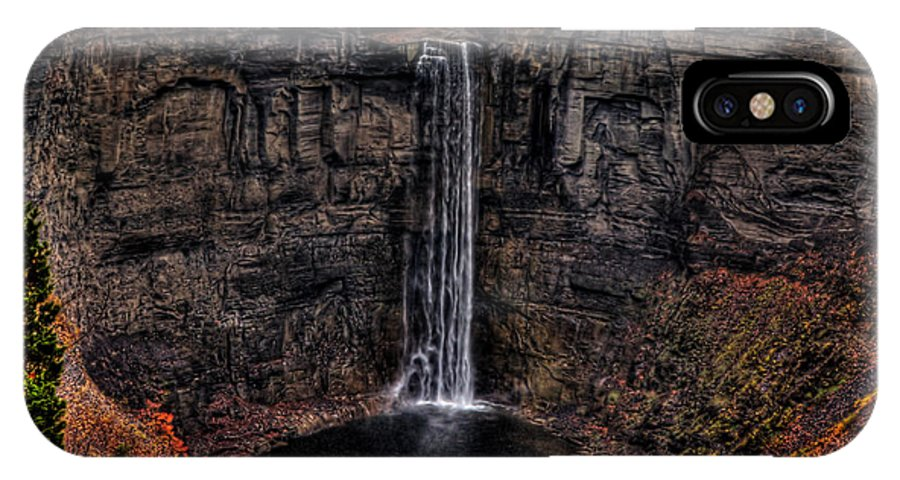 Waterfall IPhone X Case featuring the photograph Taughannok Falls II - Hdr by Richard Ortolano
