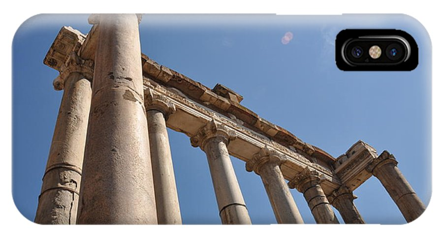Rome IPhone X / XS Case featuring the photograph Temple Of Saturn by Rich Bodane
