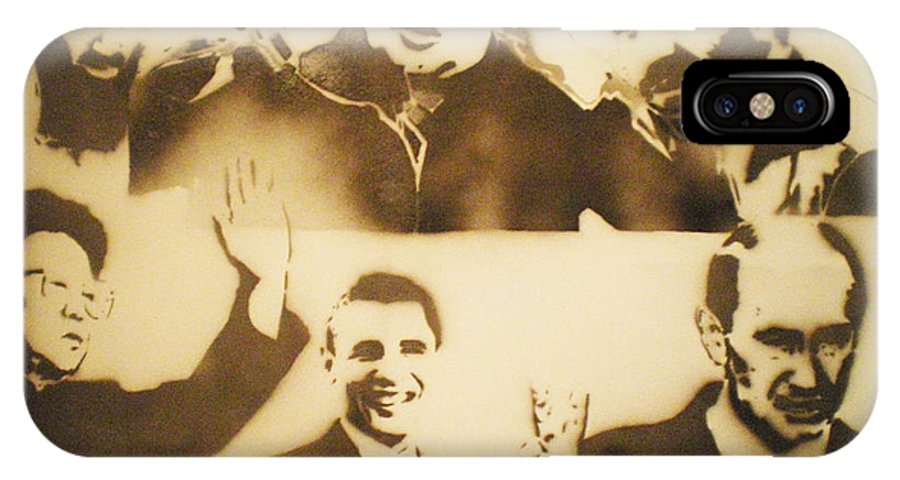 Famous People IPhone X Case featuring the painting test     Leaders by Barry Boom