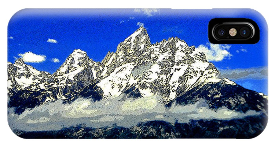 Art IPhone X Case featuring the painting Tetons by David Lee Thompson