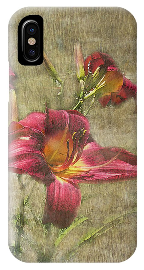 Nature IPhone X Case featuring the photograph Textured Red Daylilies by Debbie Portwood