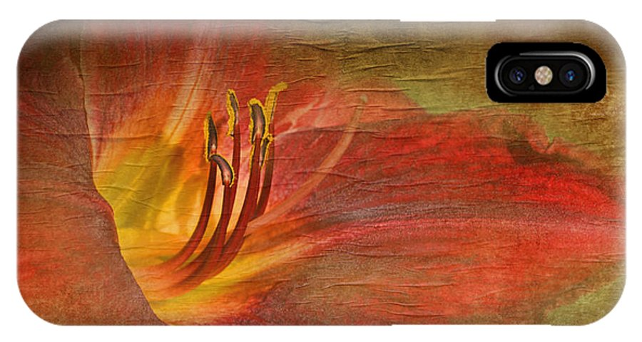 Nature IPhone X Case featuring the photograph Textured Red Daylily by Debbie Portwood