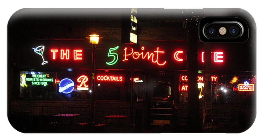 Signs Everywhere A Sign IPhone X / XS Case featuring the photograph The 5 Point Cafe by Kym Backland