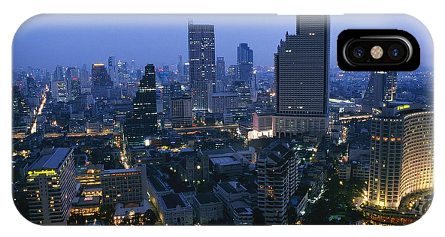 Asia IPhone X / XS Case featuring the photograph The Bangkok Skyline At Dusk by Richard Nowitz