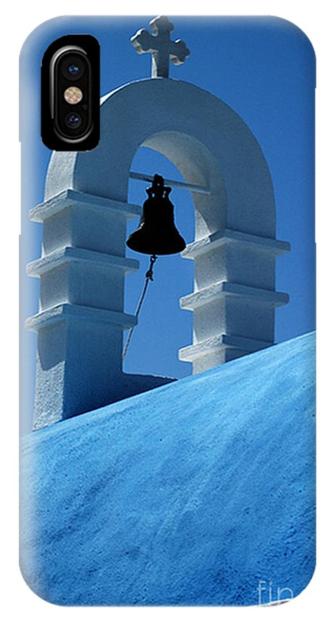 Mykonos IPhone X Case featuring the photograph The Bell Tower In Mykonos by Vivian Christopher
