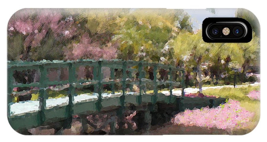 Bridge IPhone X Case featuring the mixed media The Crossing by Rosalie Scanlon