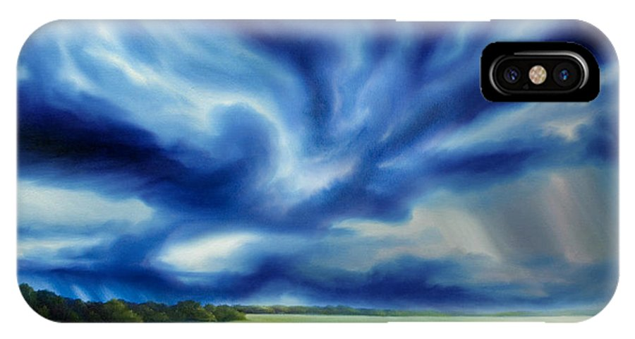 Nature; Lake; Sunset; Sunrise; Serene; Forest; Trees; Water; Ripples; Clearing; Lagoon; James Christopher Hill; Jameshillgallery.com; Foliage; Sky; Realism; Oils; Moon; Moonlight; Reflection; Blue; Lapis; Storm; Dragon; IPhone X Case featuring the painting The Dragon Storm by James Christopher Hill