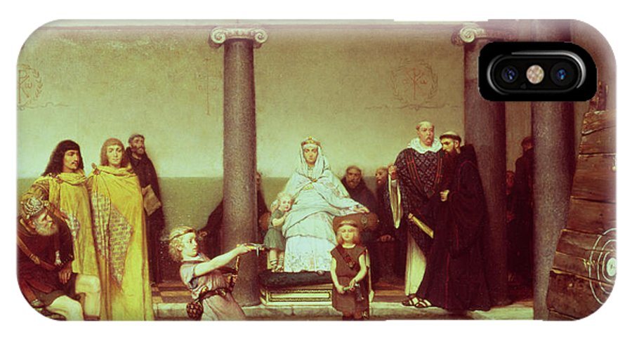 The IPhone X Case featuring the painting The Education Of The Children Of Clothilde And Clovis by Sir Lawrence Alma-Tadema