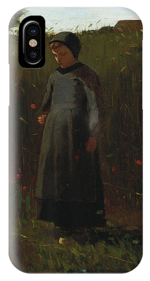 The Flowers Of The Field (oil On Canvas) By Winslow Homer (1836-1910) Female; Girl; Picking; Wild; Landscape; Rural; Poppies; Poppy; Flower IPhone X Case featuring the painting The Flowers Of The Field by Winslow Homer