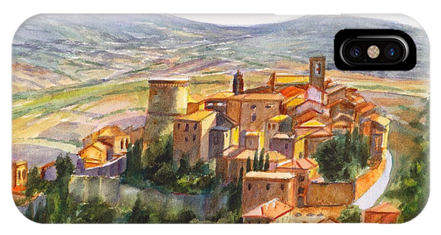 Italy IPhone X / XS Case featuring the painting The Fortified Walled Village Of Gualdo Cattaneo Umbria Italy by Dai Wynn