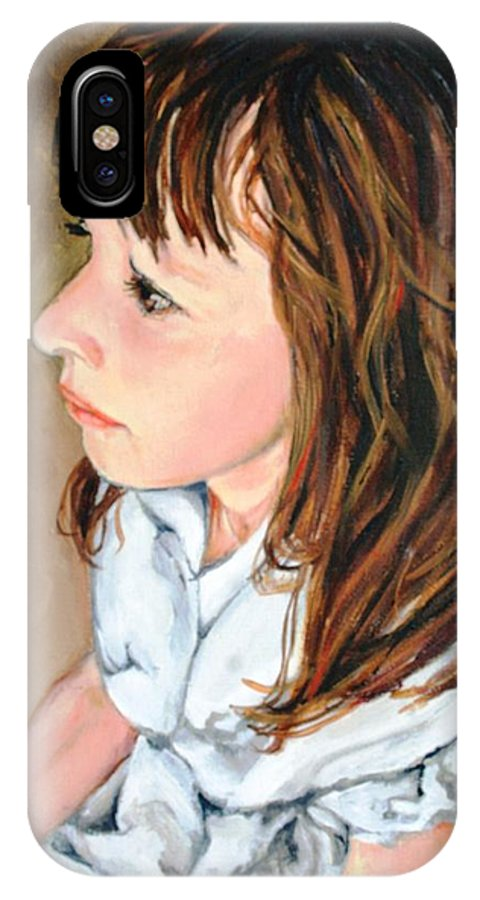 Girl Portrait IPhone X Case featuring the painting The French Girl by Jolante Hesse