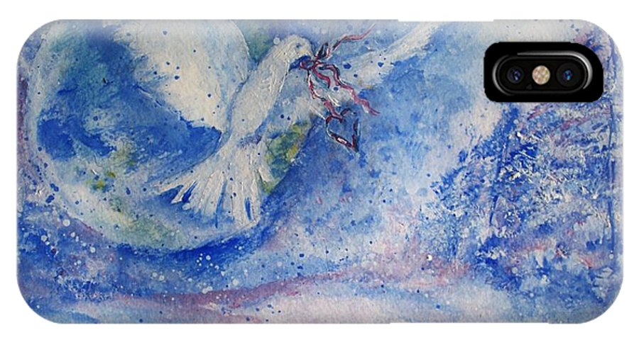Dove IPhone X Case featuring the painting The Gift Of Sharing by Robin Monroe