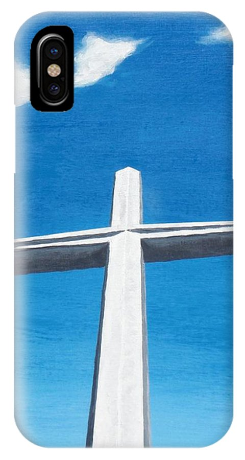 Cross IPhone X Case featuring the painting The Great Cross - Risen by Kelvin Kelley