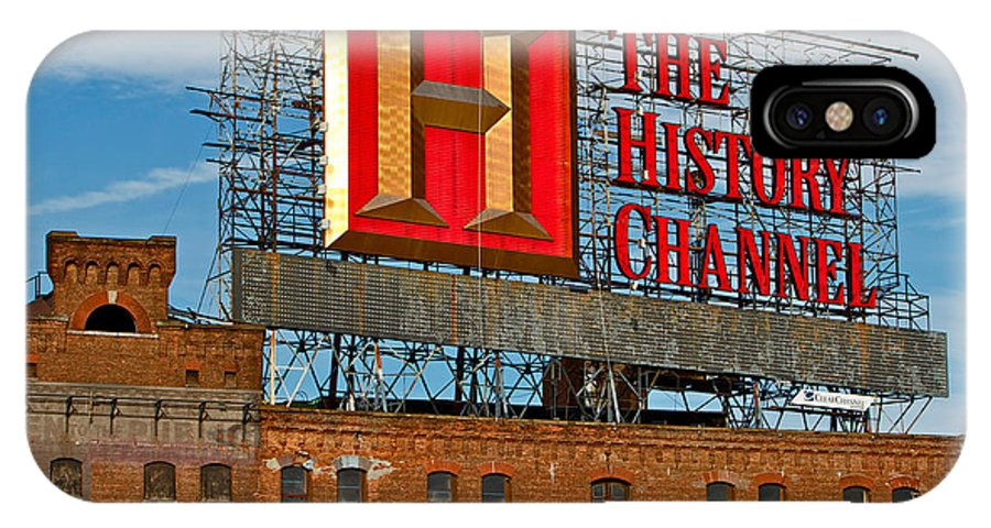 The History Channel Sign Building New York City IPhone X Case featuring the photograph The History Channel by Alice Gipson