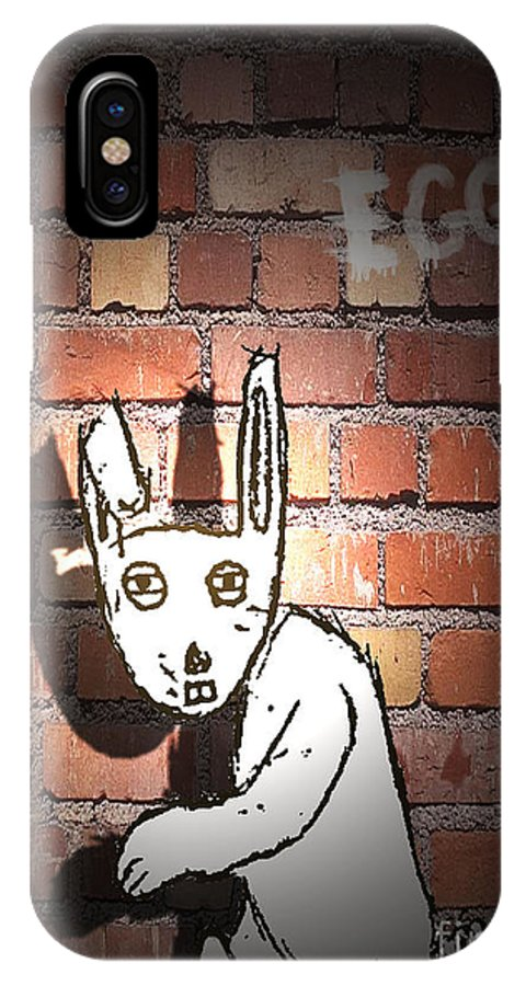 Rabbits IPhone X Case featuring the digital art The Imposter by George Pedro
