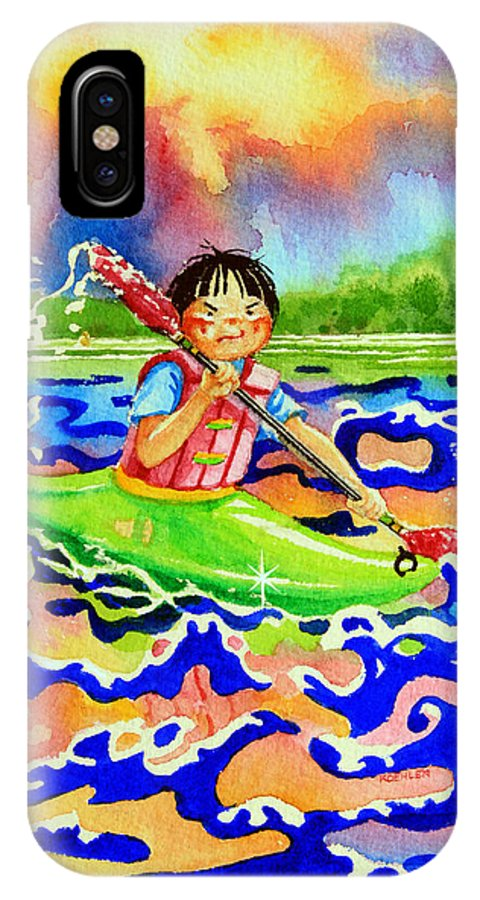 Olympic Picture Book IPhone X Case featuring the painting The Kayak Racer 12 by Hanne Lore Koehler