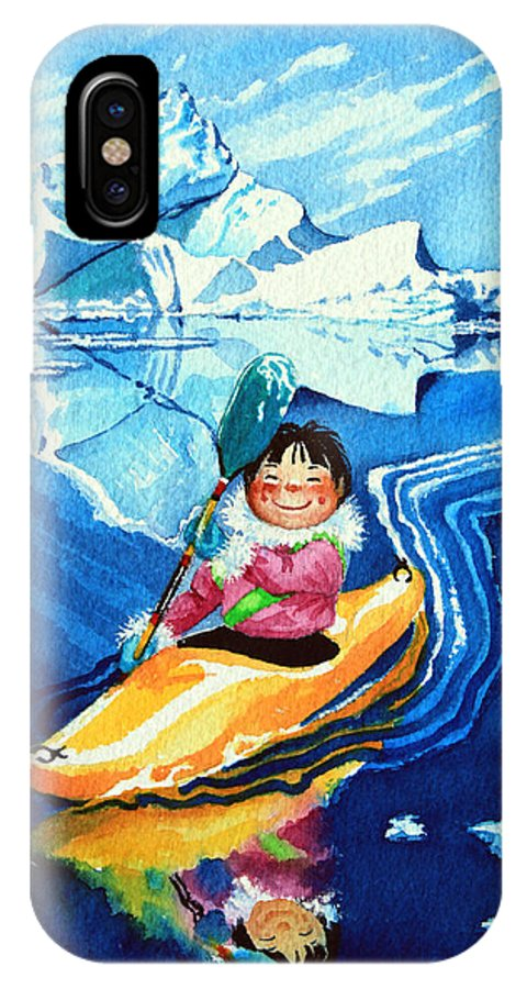 Olympic Picture Book IPhone X Case featuring the painting The Kayak Racer 13 by Hanne Lore Koehler